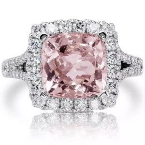 NEW 5 ct Pink Topaz Diamond Halo Engagement Ring